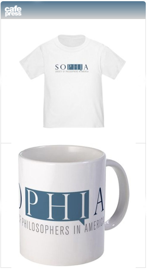 Photo of a t-shirt and a coffee mug featuring SOPHIA's logo, and which can be purchased from CafePress.