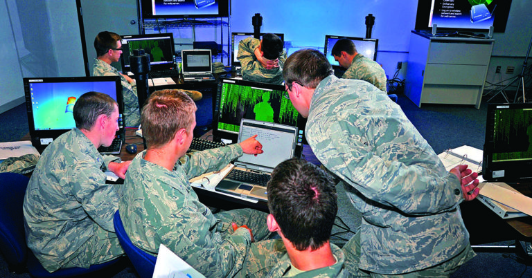 U.S. Air Force Cadets learning basic cyber operations.