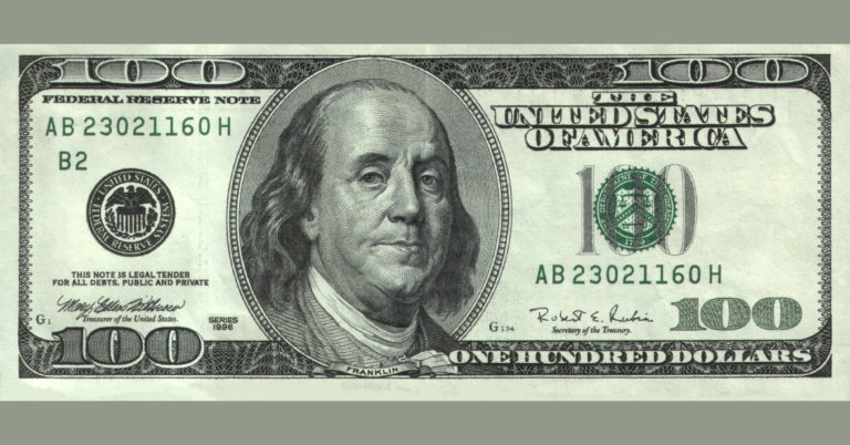 Image of a one hundred dollar bill.