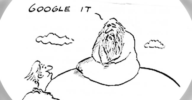 "A cartoon of a guru on a mountain top, whose answer is ""Google it."""