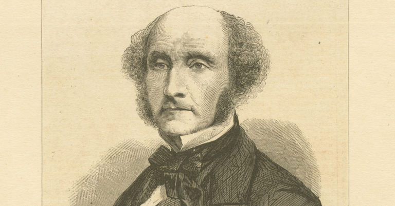Photo of a black and white print of John Stuart Mill.