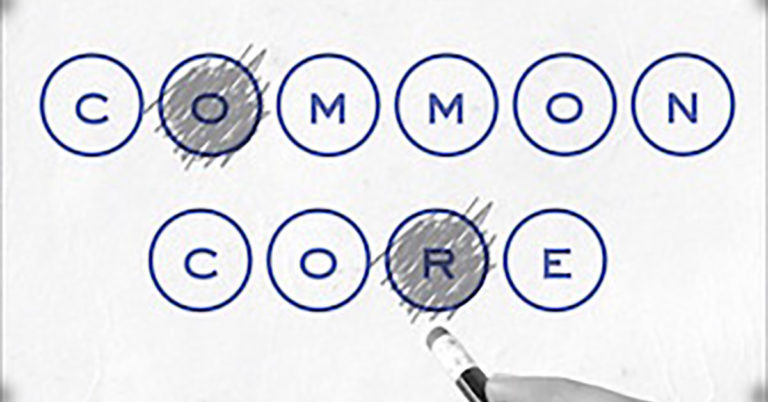 A snippet of the cover for Tampio's book, 'Common Core,' featuring the letters of the title in bubble format, as if each letter were an answer on a multiple choice test.