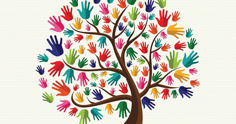 Image of a tree with multicolored hands for leaves.