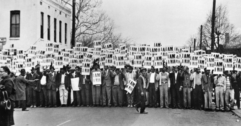 Sanitation Workers Assembling for a Solidarity March, Memphis, was taken by photographer Ernest Withers, March 28, 1968.